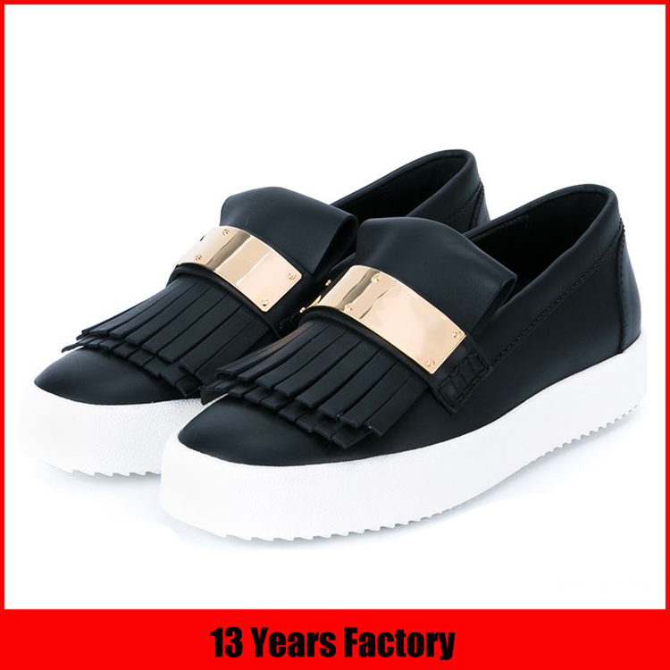 Best selling customize logo balck genuine leather high quality casual style ladies wholesale china flat shoe