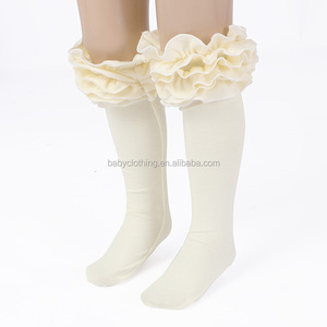 2017 kids clothes ivory ruffle leg warmer cheap knitted cotton ruffle sock