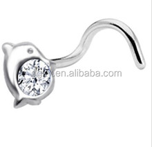 Sterling Silver Clear Attractive Design Dolphin Nose Ring