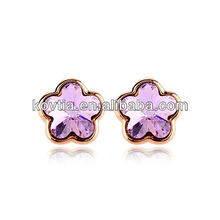 Rose gold plated pink flower stud earrings woman handmade austria crystal earring