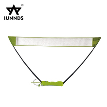 Portable badminton net post pole stand with 2 shutter cock racket
