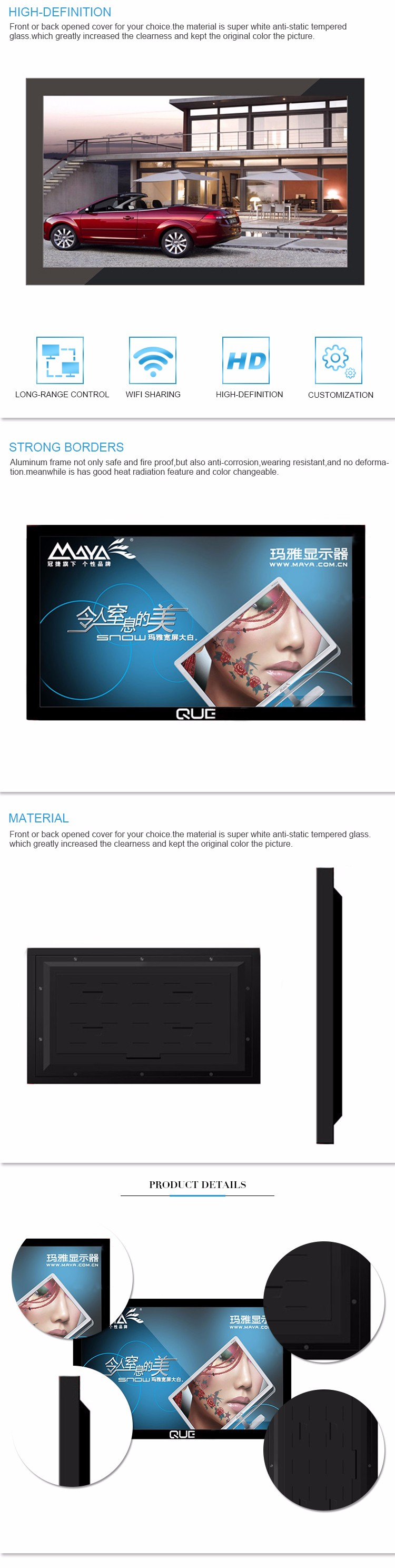Indoor wall mounted digital signage lcd display with special design