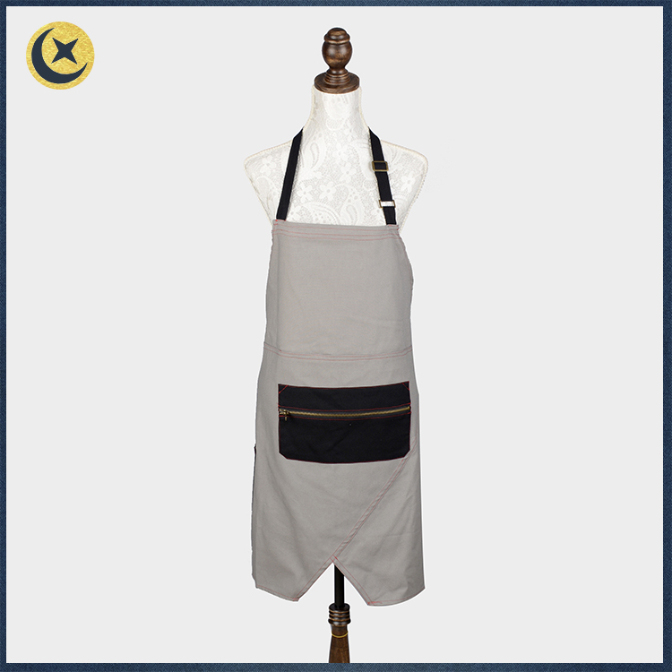 New style oil resistant canvas drawing work apron with zipper pocket