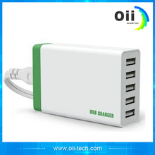 Newly designed multi national plug 5 USB mobile charger for iPhone7 tablet charger with smart IC
