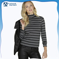 Fashion Women's high neck striped t-shirt top tshirt