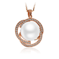 OUXI Pearl Jewelry 18K Rose Gold Plated Pearl Necklace For Sale