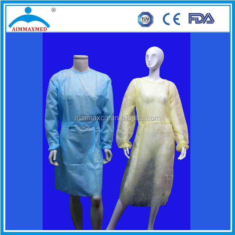 Sterile Hospital Isolation PP Gown green /yellow / light blue /dark blue /white /Dark/Pink