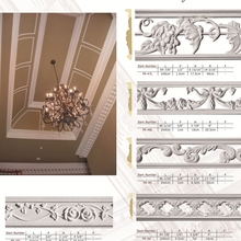 Polyurethane Ornaments High Density interior wall panel decoration PU border line design