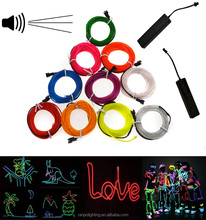 RGB Flexible EL Tape for Decoration EL Wire Tube Rope Neon Light + 3V Battery /5V USB /12V/Car Cigarette Controller