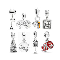 Real 925 Sterling Silver Bead Gold Bee Love Heart Tree Charms Fit Original Bracelet Pendant DIY Fashion Jewelry