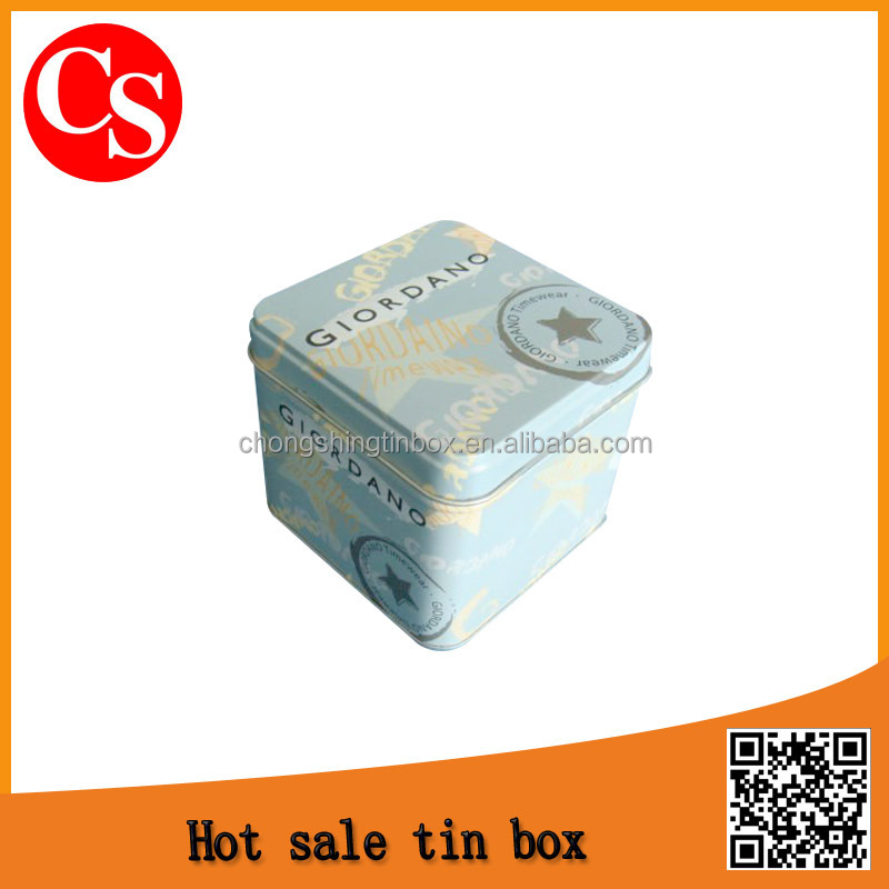 fashion square watch tin box metal box