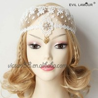 MJL-073 Yiwu Caddy The COS head ornaments,bride white lace cover face mask