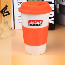 thin tall silicone lid mug decal color mark cup without handle thermal travel ceramic mug