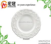 High quality beautiful embossed design hotel melamine white large dinner plates