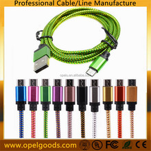 Factory Braided Nylon Aluminum 1M Fabric Textile Micro USB Cable