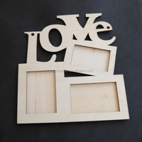 Hollow Love Wooden Photo Frame White Base DIY Picture Frame Art Decor 3 Boxes Handmade Irregular Family Photo Frame