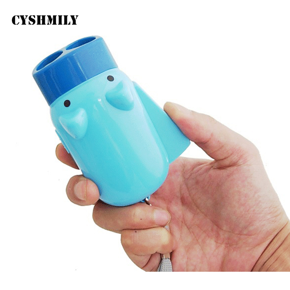 CYSHMILY ABS Plastic Colorful Pig Lovely Plastic 2 Led Light Handle Self Powered Mini Dynamo Crank Flashlight