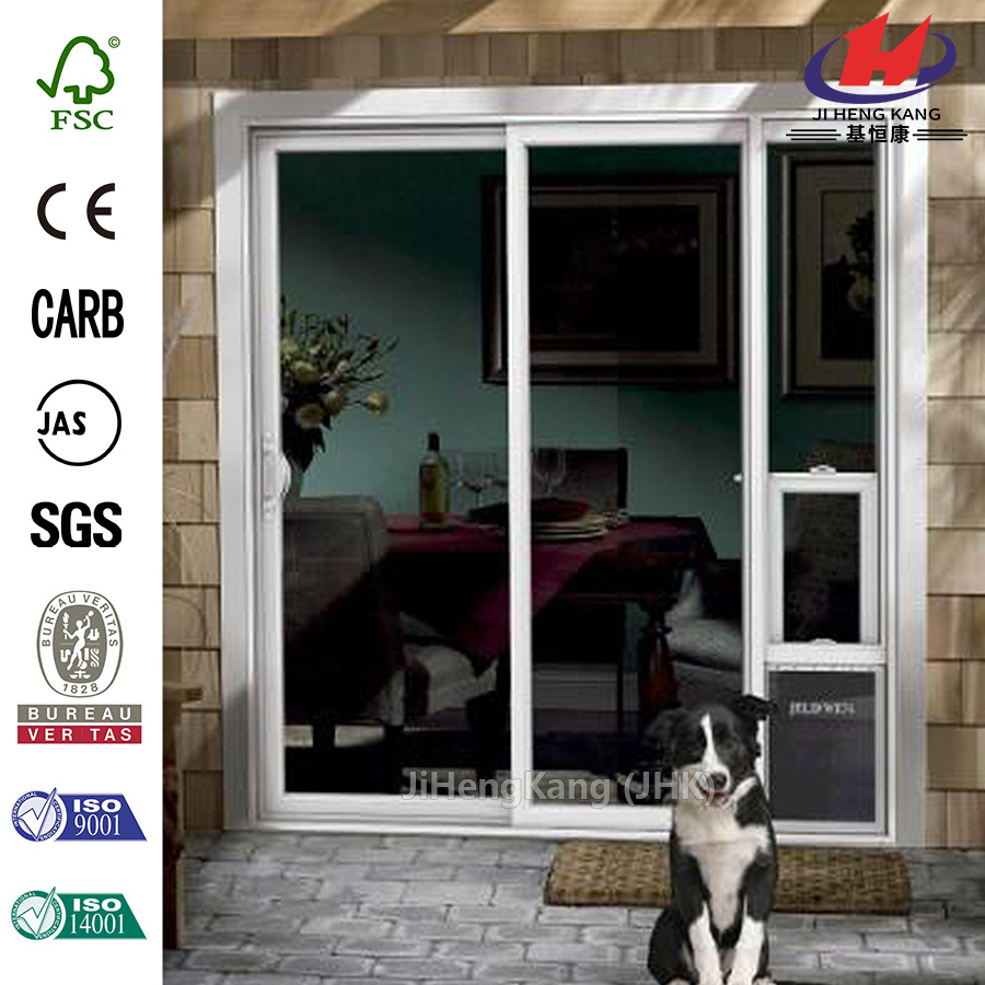 72 in. x 80 in. White Left Hand Vinyl Patio Door with Low-E Argon Glass and Large Pet Door