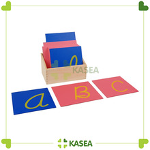 High quality Montessori language Materials -Capital Case Cursive Sandpaper Letters with Box