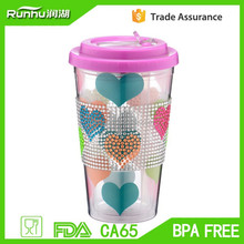 2015 new 16oz insulated plastic thermal mug with sleeve,Insule Thermal Travel Mug two layer plastic water cup RH101-16