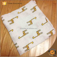 120x120cm Color yellow giraffe New Soft Muslin Cotton Newborn Baby Swaddle Blanket Bath Towel Nursery Bedding