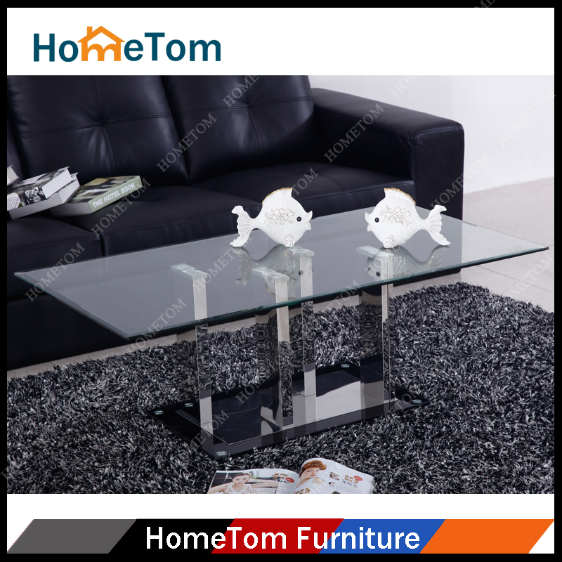 Unique Design Glass Parts Stainless Steel Frame Coffee Table