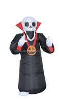 120cm/4ft air blown red skull lighted yard decoration,grim reaper Halloween inflatable