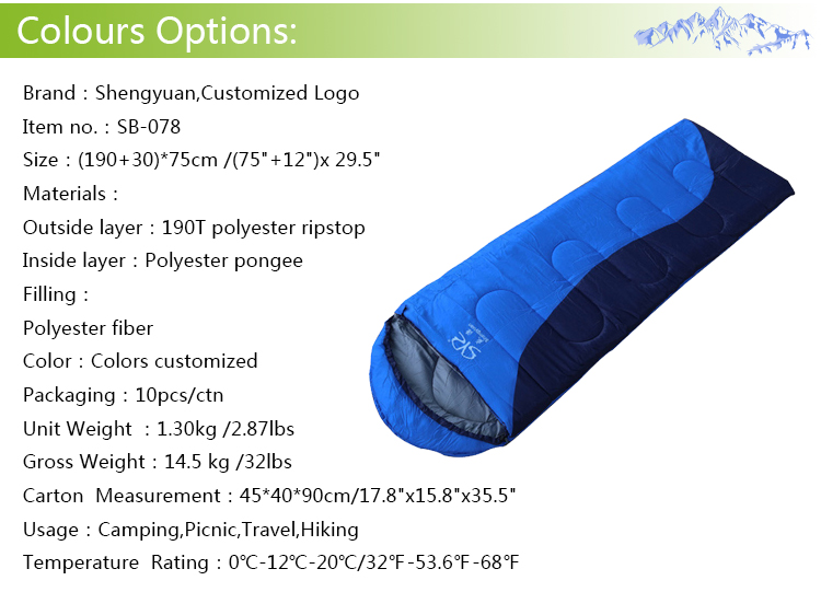 Best selling products outdoor envelope style winter camping travel outdoor sleeping bag
