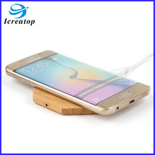 Hot sale wooden qi wireless charger receiver, qi universal wireless charger receiver for all the phone can connect