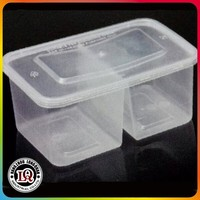 Food grade disposable plastic 2 compartments packaging lunch box