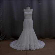 Exquisite spandex chiffon white wedding dress and lilac
