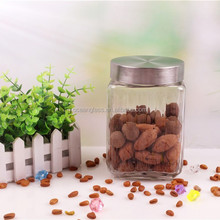 1200ml square glass jars food container with metal lid