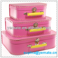 2016 New Recyclable Pink Colorful Cardboard Paper Packaging Gift Suitcase for Baby Hat Snapback Cap With Handle Box