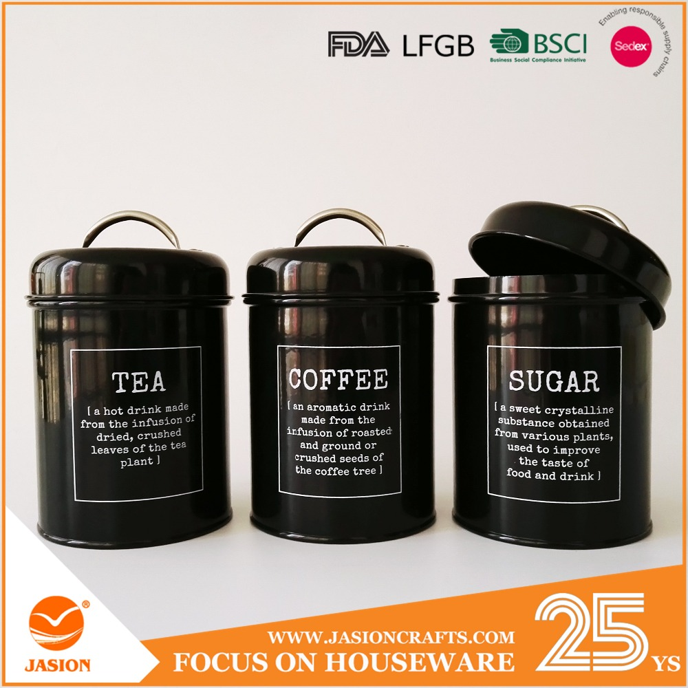 1.5L Retro Metal Tea Coffee Sugar Can Bin Pea Bean Lentil Set of 3 Storage Canister