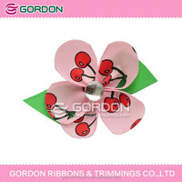 hair bow ribbon/hair wholesale hair bows/fruit printing grosgrain ribbon bow for kids
