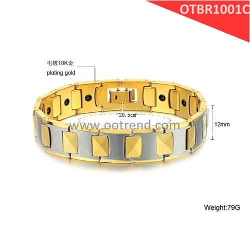 18K Golden Plated,shiny tungsten carbide bracelets, with black energy magnetic stone