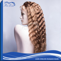 Fashionable Real Indian Human Hair Deep Wave Hair Wigs For Women 4# Color Har Indian Women Hair Wig