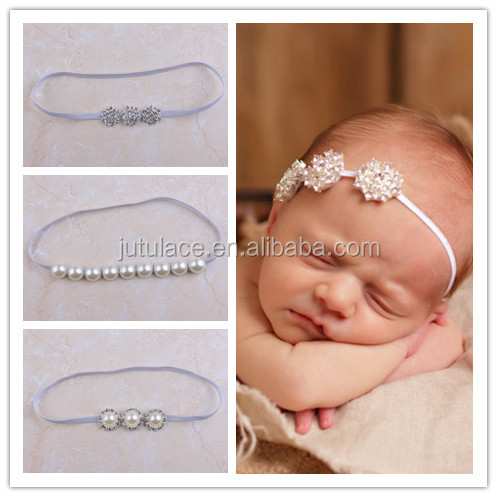 Fashion modern style women ribbon and rhinestone elastic headband, Elegant fashionable crystal stone hair band