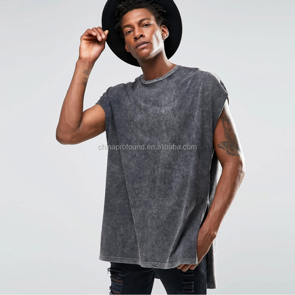2016 Super Oversized Mens T-Shirt With Extreme Side Splits And Acid Wash