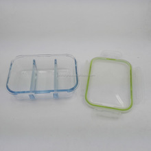 Borosilicate glass 3 compartment microwave food container