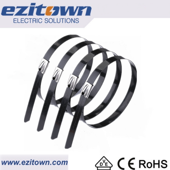 BZ-C ss304 Self Locking customized durable electrical zip ties with pvc cable strap metal pvc coated stainless steel cable ties