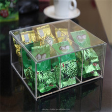 Wholesale custom made clear acrylic tea box with lid high quality material