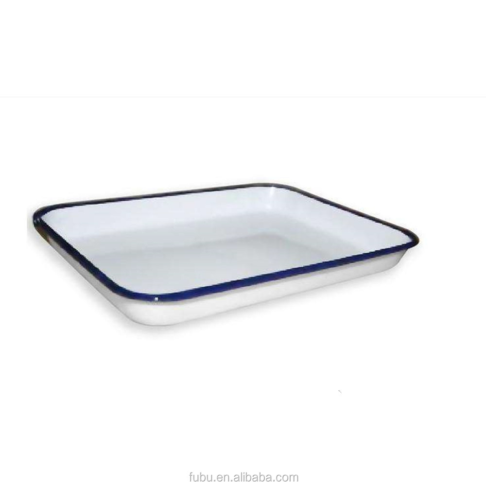 The carbon steel with 0.6mm thickness ,The medical enamel tray with white color