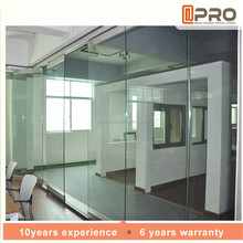 Design details soundproof hanging sliding conference bathroom living room glass aluminum movable folding partition wall