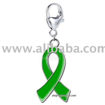 Wholesale kidney cancer Awareness Green Ribbon Charm