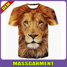 Full printed tie dye sublimation 3d shirt, animal printed 3d t-shirt wholesales