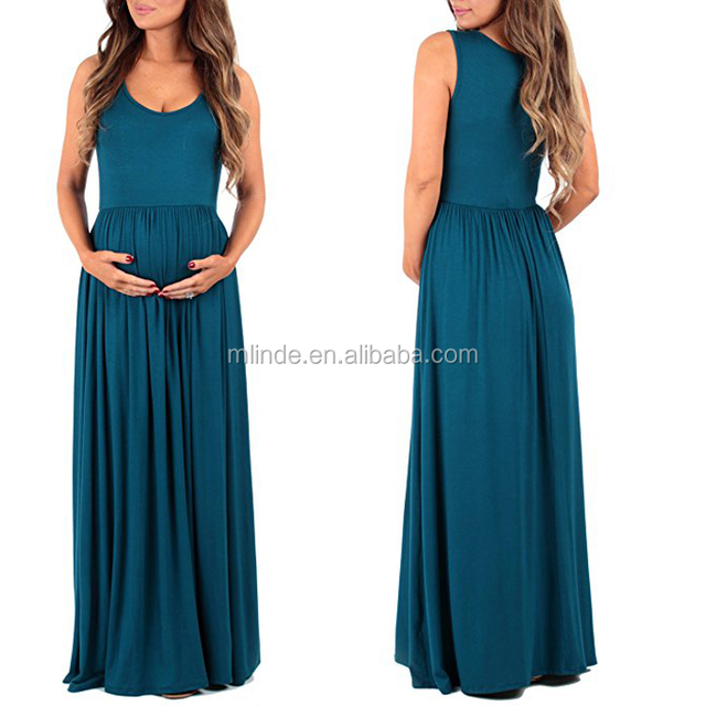 Beautiful Special Trendy Women Rushed Sleeveless Maxi Length Design Maternity Pregnant Dress For Summer Wear