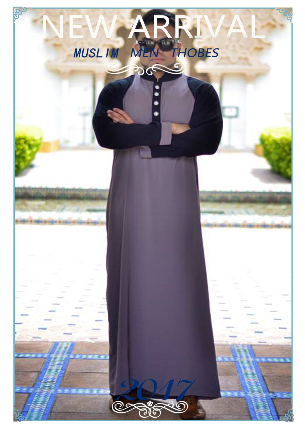 OEM Service Supply and Middle East Abaya Clothing Fashion Kebaya Islamic Clothing Light Blue Long Printing Maxi Dress