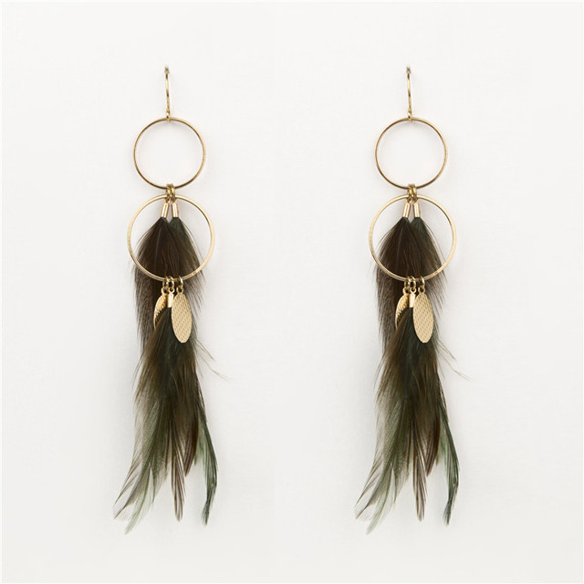 costume jewelry two-tiered gold filled hoop earring with long feather