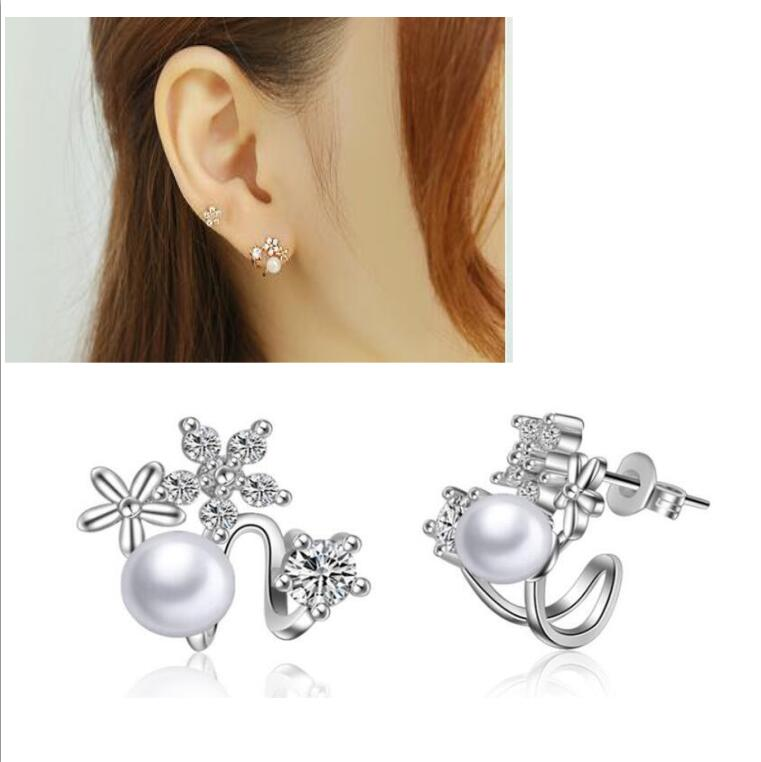 fashion 18K rose gold earrings Unique Style silver earing Cubic Zirconia Faux Ear Wrap Climber pearl Cuff Earrings for Women
